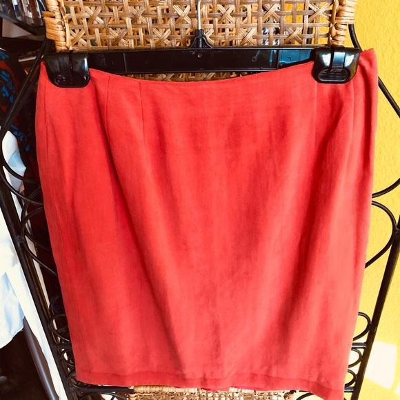 Ellen Tracy Dresses & Skirts - Burnt Orange Suede Skirt